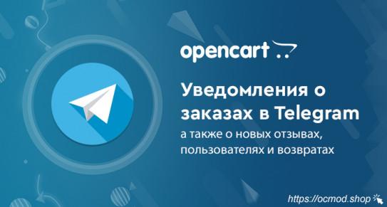 Уведомления в Telegram о новых заказах, пользователях, отзывах и возвратах