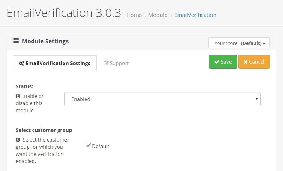 Emailverification - aктивация новых покупателей по email для OpenCart и ocStore изображение №2
