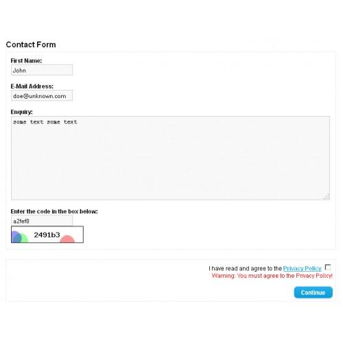 Agree ContactForm - условия конфиденциальности в форме обратной связи для OpenCart и ocStore изображение №3