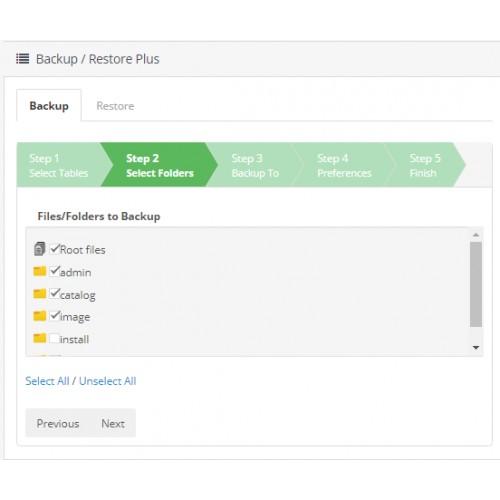 Резервное копирование / восстановление (Backup - Restore Plus) для OpenCart и ocStore изображение №3
