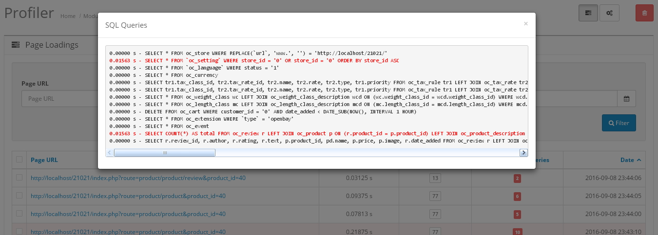 SQL Profiler с уведомлениями по электронной почте и информированием в админке для OpenCart и ocStore изображение №5