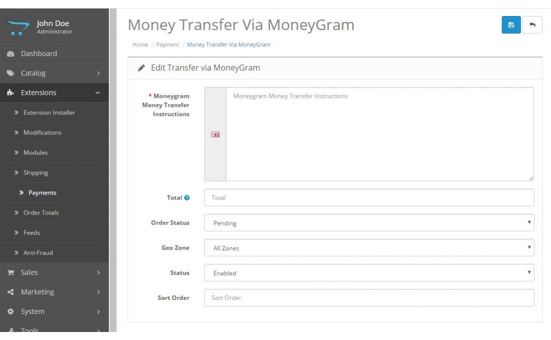 Модуль оплаты MoneyGram для OpenCart и ocStore изображение №3